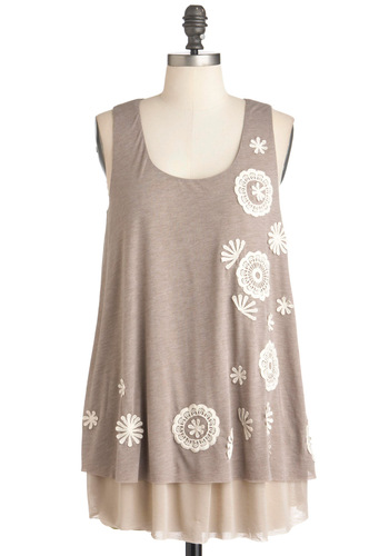 Drifting Dandelions Top - Long, Brown, Flower, Tiered, Casual, Tank top (2 thick straps)