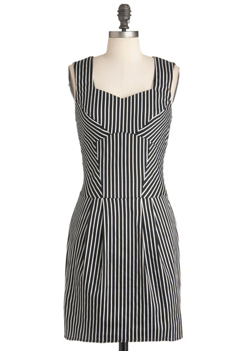 Reciting Lines Dress - Mid-length, Black, White, Stripes, Exposed zipper, Pockets, Party, Shift, Sleeveless, Spring, Sweetheart