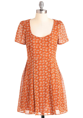 Sprig in Your Step Dress - Short, Orange, Tan / Cream, Print, Casual, A-line, Short Sleeves, 90s