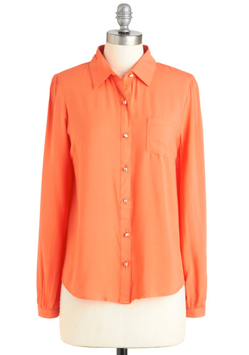 Reporting Lively Top - Mid-length, Orange, Solid, Buttons, Pockets, Long Sleeve, Embroidery, Work, Sheer, Button Down, Collared