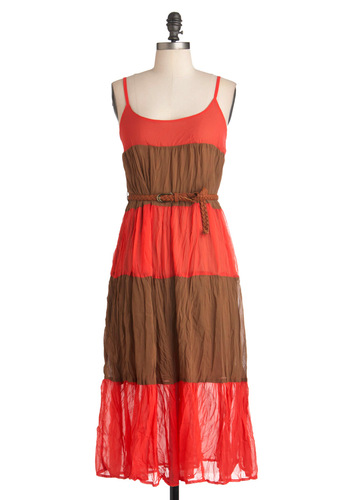 Coral Collection Dress - Long, Orange, Brown, Casual, Maxi, Spaghetti Straps, Summer, Belted, Boho, Sheer, Coral, Beach/Resort