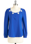 Playful Banner Top - Mid-length, Blue, Solid, Buttons, Cutout, Lace, Long Sleeve, Casual, Sheer