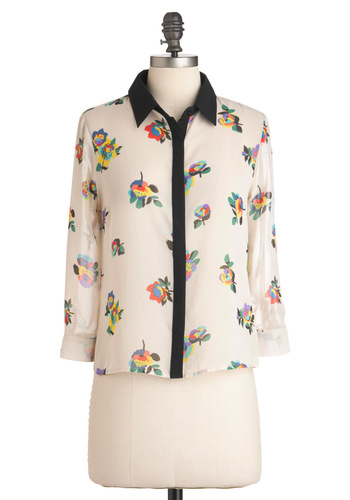 Dyed Flowers Top - Short, White, Red, Yellow, Green, Blue, Purple, Black, Floral, Long Sleeve, Casual, Sheer, Button Down, Collared