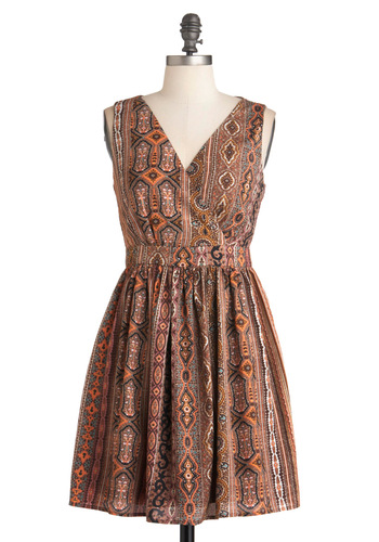 Chatting Over Chai Dress - Mid-length, Brown, Multi, Print, Buttons, Cutout, Casual, A-line, Sleeveless, Multi, Boho, Summer, V Neck, Tis the Season Sale