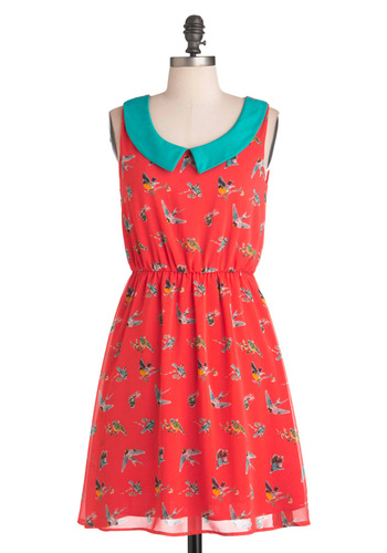 A Bird of Advice Dress - Mid-length, Orange, Multi, Print with Animals, Peter Pan Collar, Casual, A-line, Sleeveless, Coral, Collared