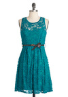 The Teal of the Night Dress - Mid-length, Lace, Party, A-line, Belted, Green, Floral, Sleeveless, Daytime Party, Tis the Season Sale, Sheer, Crew