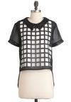Who, What, Square Top - Short, Black, White, Cutout, Peter Pan Collar, Sequins, Party, Short Sleeves, Glitter, Sheer, Collared