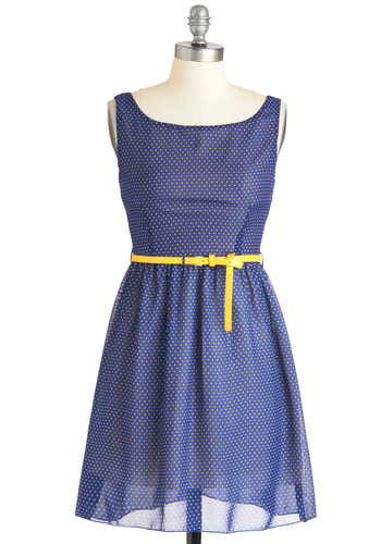 Drop of Lemon Dress - Short, Blue, Yellow, Polka Dots, Casual, A-line, Sleeveless, Belted, Cocktail