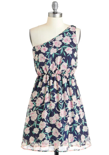 Artistic Exposure Dress - Green, Pink, Floral, Party, A-line, One Shoulder, Summer, Mid-length, Pastel
