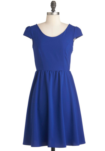 You Bow the Feeling Dress - Blue, Solid, A-line, Mid-length, Backless, Cutout, Party, Cap Sleeves