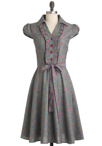 About the Artist Dress in Garden - Grey, Green, Blue, Purple, Floral, Buttons, Ruffles, Party, Vintage Inspired, A-line, Cap Sleeves, Long, Belted, Work