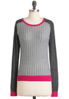 On the Marker Sweater - Mid-length, Grey, Pink, Casual, Long Sleeve, Fall