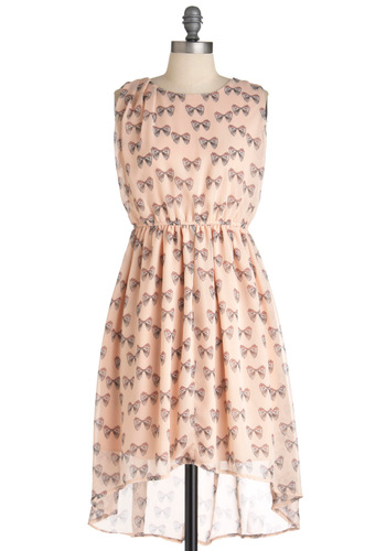 Decorate It Yourself Dress - Novelty Print, Party, A-line, Sleeveless, Spring, High-Low Hem, Mid-length, Pink, Brown