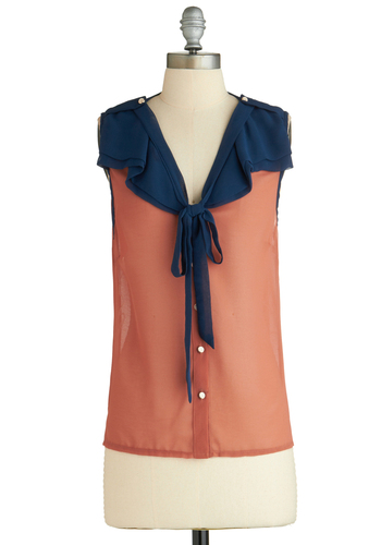 Sample 2049 - Orange, Blue, Buttons, Casual, Sleeveless