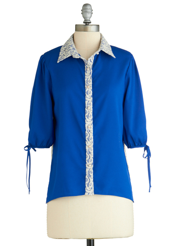 Sample 2047 - Blue, White, Buttons, Lace, Casual, 3/4 Sleeve