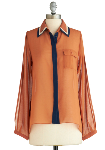 Sample 2040 - Orange, Blue, Tan / Cream, Black, Buttons, Pockets, Long Sleeve
