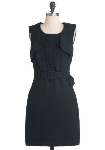 The Little Navy Dress - Mid-length, Blue, Solid, Pockets, Work, Shift, Sleeveless, Fall, Belted, Vintage Inspired, Mod