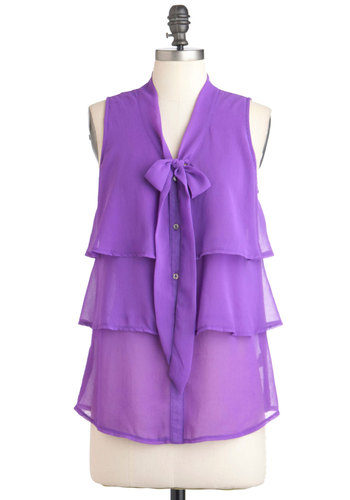 Lilac to Move It Top - Solid, Work, Sleeveless, Purple, Buttons, Tiered, Tie Neck, Mid-length, Sheer, Button Down, V Neck