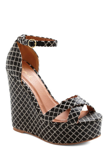 Pool Decked Out Wedge - Black, Tan / Cream, Print, High, Platform, Wedge, Party