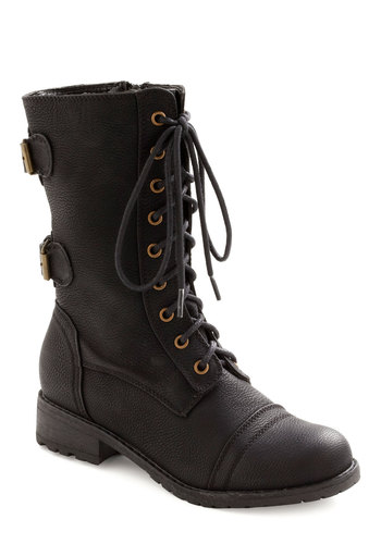 You Tread It Boot - Black, Solid, Buckles, Casual, Military, Urban, Winter, Lace Up, Low, Faux Leather, 90s