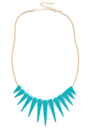 Spike an Interest Necklace in Teal - Blue, Gold, Solid, Casual, Statement, Girls Night Out