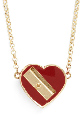 Love to Draw Necklace - Red, Gold, Solid, Casual, Tis the Season Sale