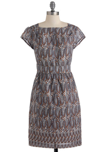 Stormy Feather Dress - Grey, Brown, Print, Exposed zipper, Work, Shift, Cap Sleeves, Vintage Inspired, Cotton