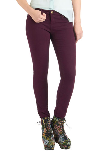 Fruit and Far Between Jeans in Plum by Blank NYC - Purple, Solid, Pockets, Casual, Skinny, Fall, Long, Denim