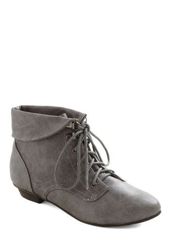 Berlin the Know Bootie - Grey, Solid, Casual, Menswear Inspired, Steampunk, Lace Up, Low