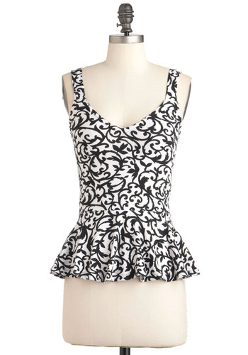 I Love a Brocade Top by Motel - White, Print, Party, Tank top (2 thick straps), Black, Peplum, Mid-length, Cotton, International Designer