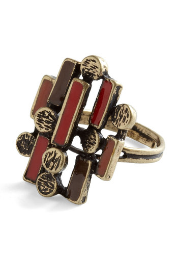 Mid-Century Stunner Ring - Multi, Red, Brown, Gold