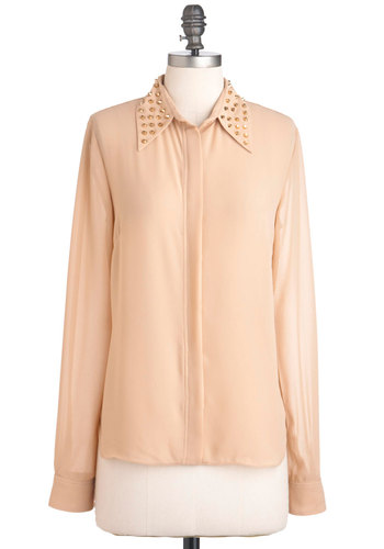 Stud-Crossed Love Top - Tan, Solid, Studs, Casual, Urban, Long Sleeve, Mid-length, Sheer, Button Down, Collared