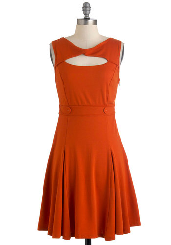 Pumpkin Up the Jam Dress - Mid-length, Orange, Solid, Cutout, Party, A-line, Sleeveless, Vintage Inspired