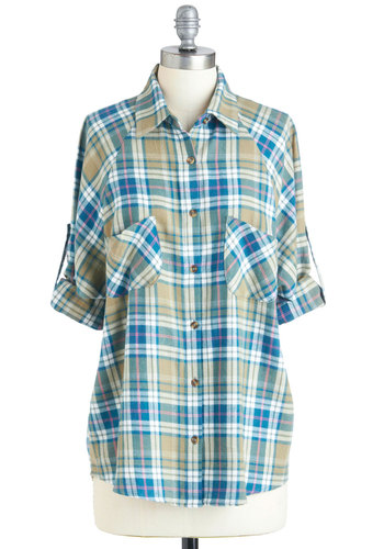 My Number One Flannel Top - Blue, White, Plaid, Buttons, Pockets, Casual, Vintage Inspired, 90s, Long Sleeve, Green, Pink, Mid-length, Cotton, Button Down, Collared, Rustic