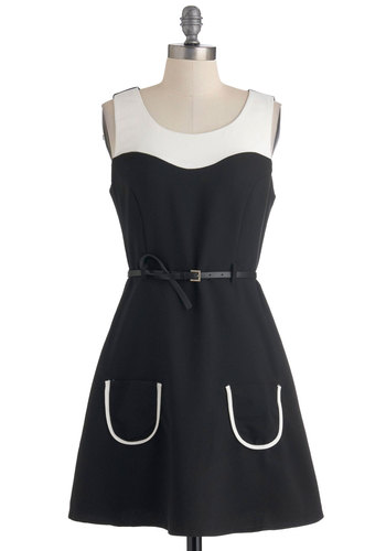 Radio Play Date Dress - Mid-length, Black, White, Pockets, Party, A-line, Sleeveless, Belted, Mod