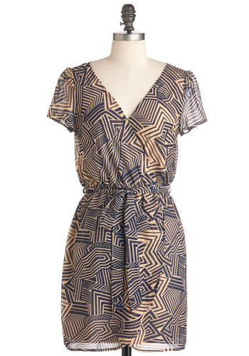 All Over Town Dress - Short, Blue, Brown, Print, Casual, Short Sleeves, Belted, Urban, Sheer, V Neck