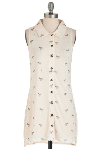 Zebra Dreaming Top - Cream, Black, Print with Animals, Buttons, Casual, Sleeveless, Sheer, Button Down, Collared