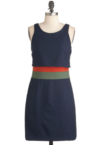 Swinging Stripes Dress - Solid, Pockets, Casual, Sleeveless, Mid-length, Blue, Orange, Green, Shift, 60s, Mod