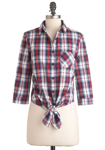 Thank You Prairie Much Top - Multi, Red, Blue, White, Plaid, Buttons, Pockets, Casual, Short, Rustic, 90s, Cotton, Button Down, Collared