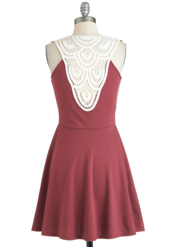 Afternoon Out Dress - Mid-length, Crochet, Casual, A-line, Sleeveless, Purple, White, Spring, Scoop