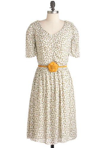 Show 'Em Who's Blossom Dress - Long, Cream, Brown, Floral, Exposed zipper, Party, Short Sleeves, Spring, Belted, Multi, Blue, Pink, Flower, Sheath / Shift