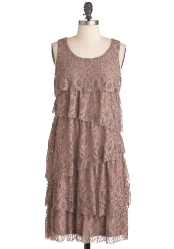 Hazelnuts About You Dress - Lace, Party, Sleeveless, Mid-length, Shift, Tiered, Tan, Vintage Inspired, 20s, Solid, Cocktail, Daytime Party