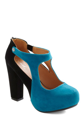 Azure as Fate Heel - Black, Cutout, Party, Statement, Girls Night Out, Colorblocking, Blue, Faux Leather, Platform, High, Chunky heel