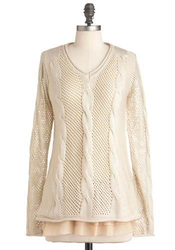 Snuggled Up in Style Sweater - Cream, Knitted, Casual, Long Sleeve, Solid, Fall, Mid-length, Pastel, V Neck