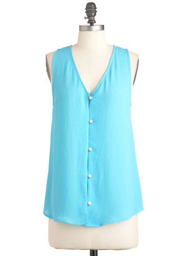 Hey You Skies Top - Blue, Solid, Buttons, Sleeveless, Casual, Mid-length