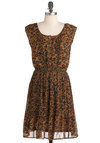 The Safari Side Dress - Animal Print, Buttons, A-line, Sleeveless, Mid-length, Brown, Black, Pleats, Casual, Urban, Button Down