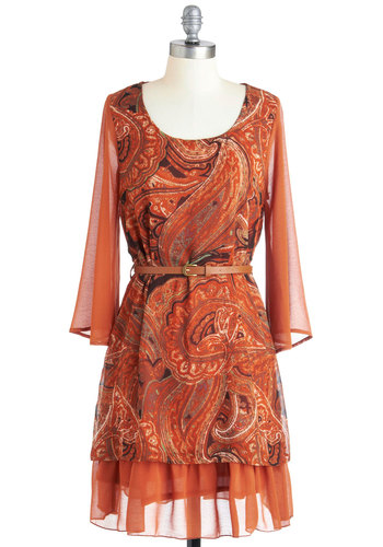 The Rust is Up to You Dress - Orange, Multi, Print, Casual, Long Sleeve, Fall, Belted, Short, A-line, Boho, 70s, Sheer