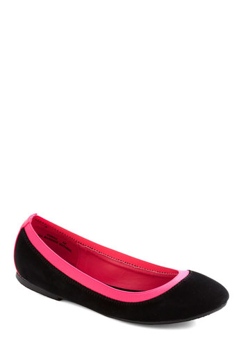 Get On Your Sweet Flat - Black, Pink, Casual, Colorblocking, Faux Leather, Low