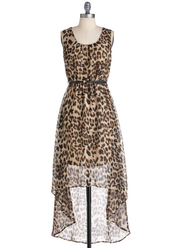 Party Prowl Dress - Animal Print, Party, Sleeveless, Belted, High-Low Hem, Long, Brown, Tan / Cream, Black, Girls Night Out, Sheer, Safari