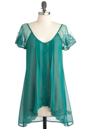 Emerald Fashioned Top - Green, Buttons, Embroidery, Sheer, Solid, Pleats, Short Sleeves, Mid-length, Button Down, Work, Scoop